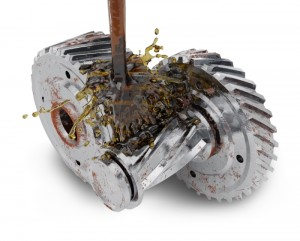 Cogwheels and pouring motor oil isolated on white background. 3d render