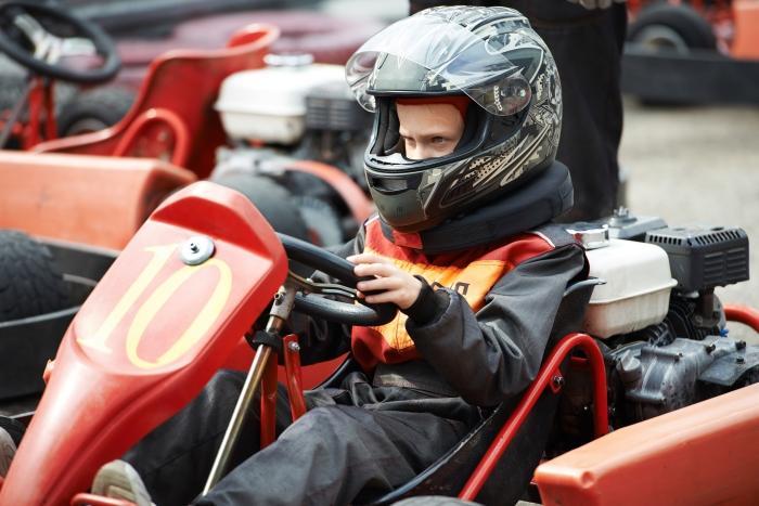 Children karting on start